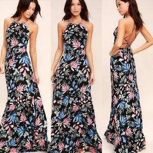 Lulu's Loving Ways Black Floral Print Maxi Dress